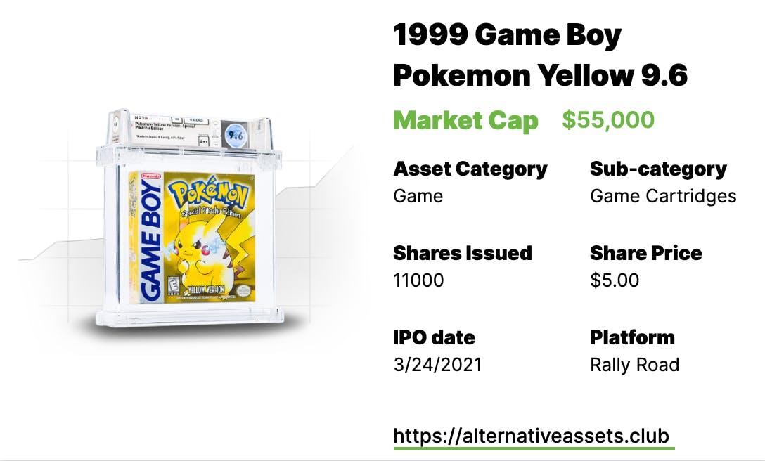 1999 Game Boy Pokemon Yellow WATA 9.6 A++