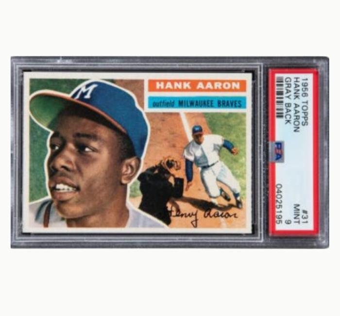 Hank Aaron Gray Back 1956 Topps