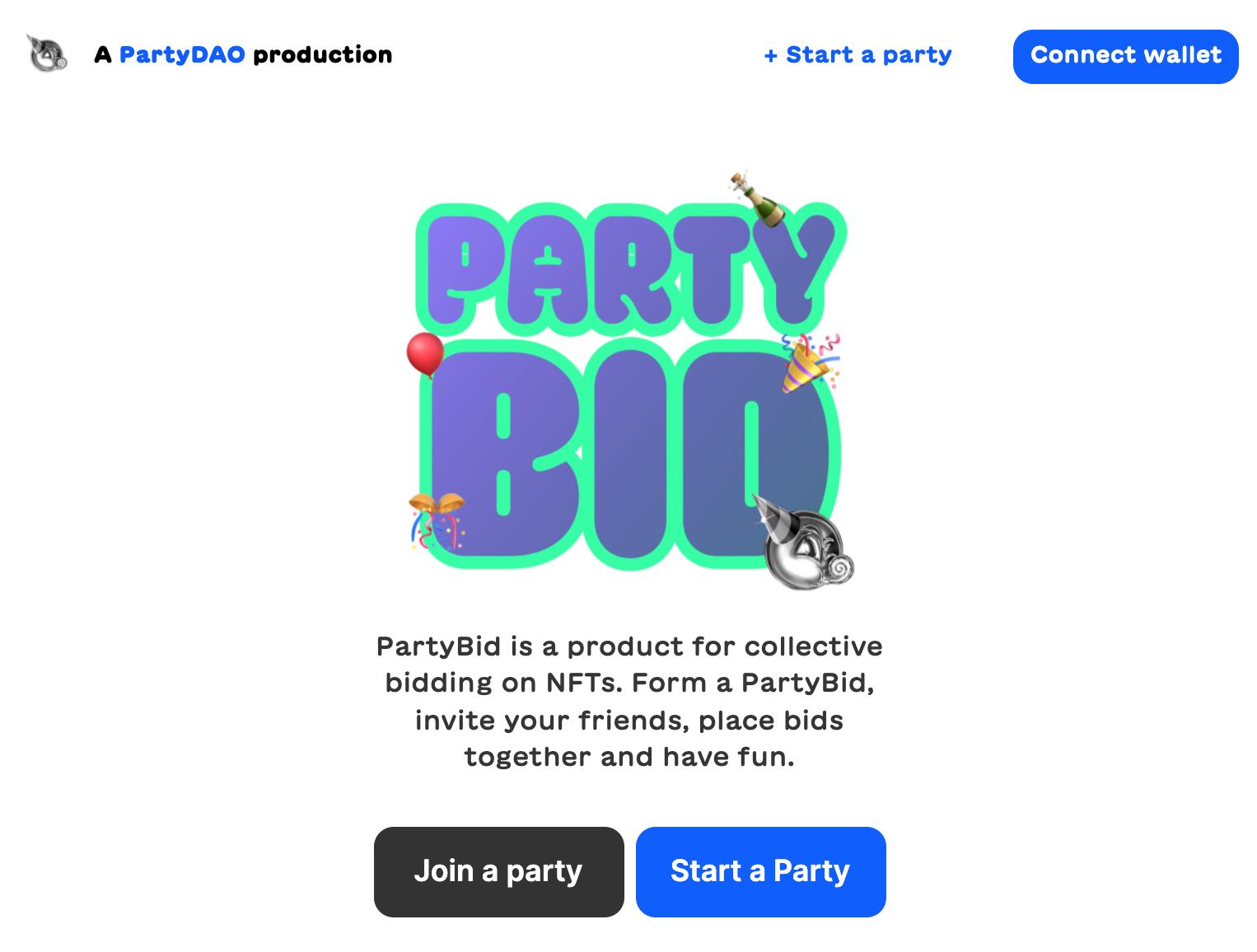 Partybid homepage