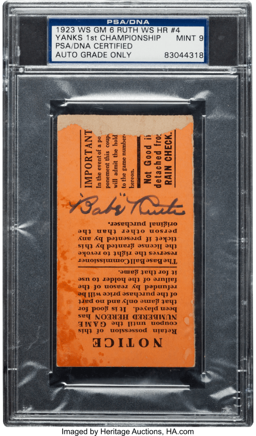 babe ruth signed ticket